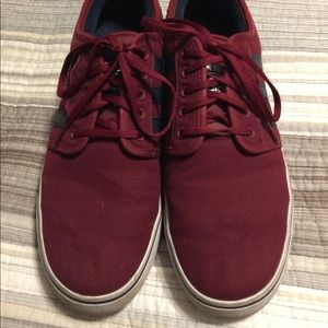 Adidas Burgundy and Navy Blue Strip Men's Shoes